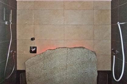 Einbausauna - Dampfsauna - Innenansicht, LED Beleuchtung