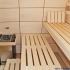 Badezimmer Sauna - Ahorn Paneele - Innenansicht, Saunaofen