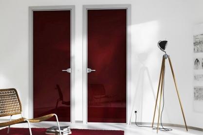 Zimmertüren von raumplus - Alu-Glas, weinrot