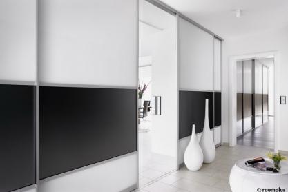 Glasdesign Raumteiler, schwarz-weiss