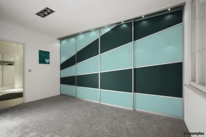 Raumteiler - Glasschiebetüren, grüne Strahlen