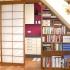 Shoji Schiebetür Raumteiler - Esszimmer - Kirschbaum, geölt - teilweise geöffnet, mit integriertem Bücherregal