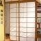 Shoji Schiebetür Raumteiler - Esszimmer - Kirschbaum, geölt - teilweise geöffnet