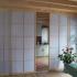 Shoji Schiebetür Raumteiler - Küche - Fichte, geölt - teilweise geöffnet