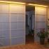 Shoji Schiebetür Raumteiler - Küche - Fichte, geölt - teilweise geöffnet, beleuchtet