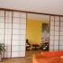 Shoji Schiebetür Raumteiler - Wohnzimmer - Zeder, geölt - Mitte geöffnet