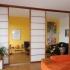 Shoji Schiebetür Raumteiler - Wohnzimmer - Zeder, geölt - 3 Türen geöffnet