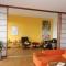 Shoji Schiebetür Raumteiler - Wohnzimmer - Zeder, geölt - 4 Türen geöffnet