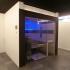 Sauna, verglast - Fichte und Räuchereiche, Außenansicht, Farbspiel