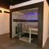 Sauna, verglast - Fichte und Räuchereiche, Ansicht von rechts