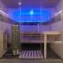 Sauna, verglast - Fichte und Räuchereiche, Frontalansicht