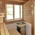 Badezimmer Sauna - Altholzsauna - Innenansicht, Fenster, Saunaofen