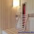Dachschräge Sauna - waagerechte Außenverkleidung - Infrarotstrahler