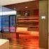 Einbau Glassauna - Eckverglasung - Stimmungslicht, LED, orange
