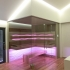 Einbau Glassauna - Eckverglasung - Stimmungslicht, LED, pink