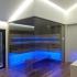 Einbau Glassauna - Eckverglasung - Stimmungslicht, LED, blau