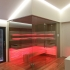 Einbau Glassauna - Eckverglasung - Stimmungslicht, LED, rot