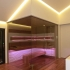 Einbau Glassauna - Eckverglasung - Stimmungslicht, LED, pink, Raum Beleuchtung gedimmt