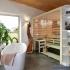 Badezimmer Sauna - Erle mit Glasfront