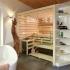 Badezimmer Sauna - Erle mit Glasfront - Ansicht Totale