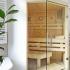 Badezimmer Sauna, abgeschrägt - Verglasung über Eck - Ansicht von links
