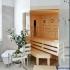 Badezimmer Sauna, abgeschrägt - Verglasung über Eck - Inneneinrichtung mit Infrarotstrahler
