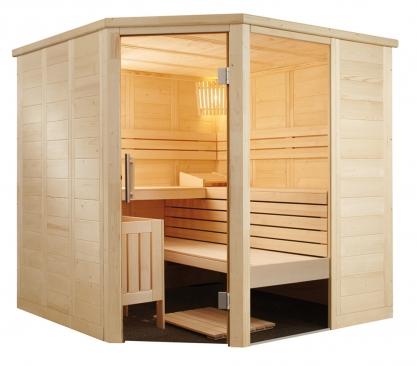 Massivholz Sauna - durchgehendes Glaselement - Eckeinstieg