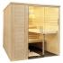 Massivholz Sauna - durchgehendes Glaselement - groß