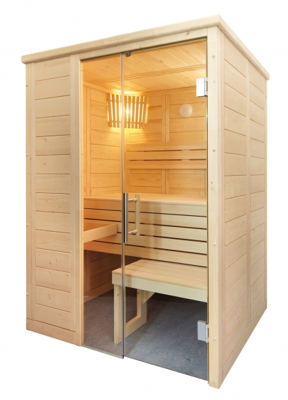 Massivholz Sauna - durchgehendes Glaselement - klein