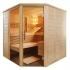 Massivholz Sauna - durchgehendes Glaselement - Infrarotstrahler - Eckeinstieg