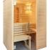 Massivholz Sauna - durchgehendes Glaselement - Infrarotstrahler - klein