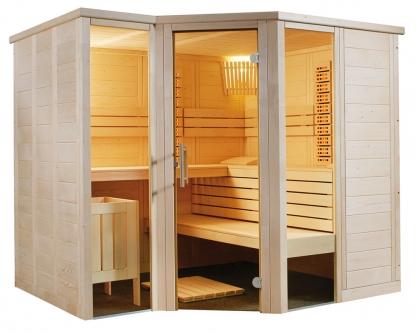 Massivholz Sauna - durchgehendes Glaselement - Infrarotstrahler - Eckeinstieg, zurückgesetzt