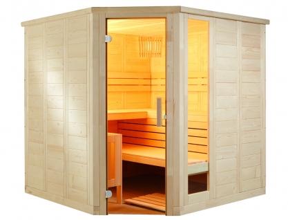 Massivholz Sauna mit Glaselement - Eckeinstieg