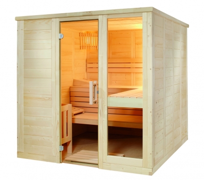 Massivholz Sauna mit Glaselement