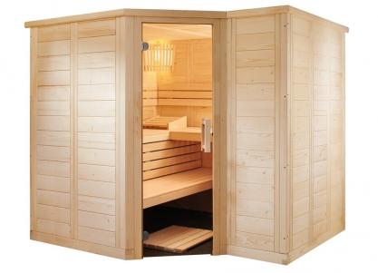 Massivholz Sauna mit Glaselement - Eckeinstieg, zurückgesetzt