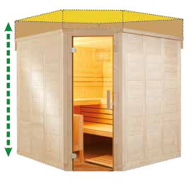 Massivholz Sauna - Maßanfertigung - flexible Höhe