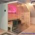 Dachschräge Sauna - Glassauna unter der Mansarde - LED, pink