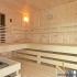 Sauna im Badezimmer mit Eckeinstieg - Einrichtung