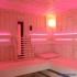 Sauna im Badezimmer mit Eckeinstieg - LED Beleuchtung, Infrarotstrahler
