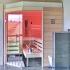 Sauna im Badezimmer mit Eckeinstieg - Außenansicht