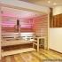 Einbausauna im Badezimmer - Außenansicht, LED Beleuchtung, rosa