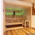 Einbausauna im Badezimmer - Außenansicht, LED Beleuchtung, grün