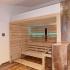 Einbausauna im Badezimmer - Außenansicht, LED Beleuchtung, türkis