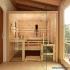Zirbenholz-Sauna mit Glasfront - Frontalansicht