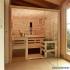 Zirbenholz-Sauna mit Glasfront - Ansicht von schräg links