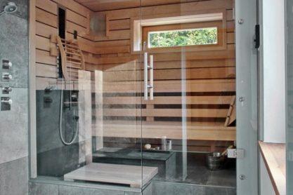 Einbau-Glassauna mit Dusche