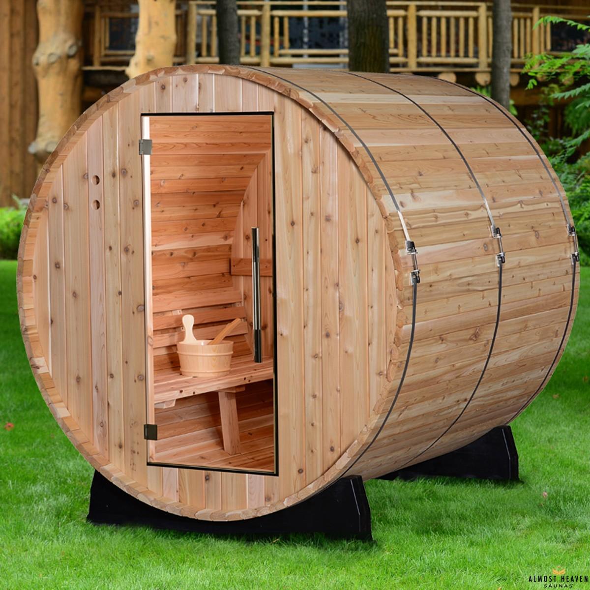 Fass-Sauna für 4 Personen, lang