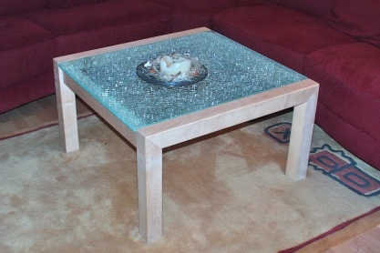 Wohnen - Couchtisch, Strukturglas-Tischplatte